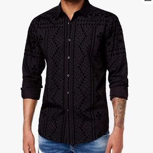 INC Men's Flocked Button Down Shirt